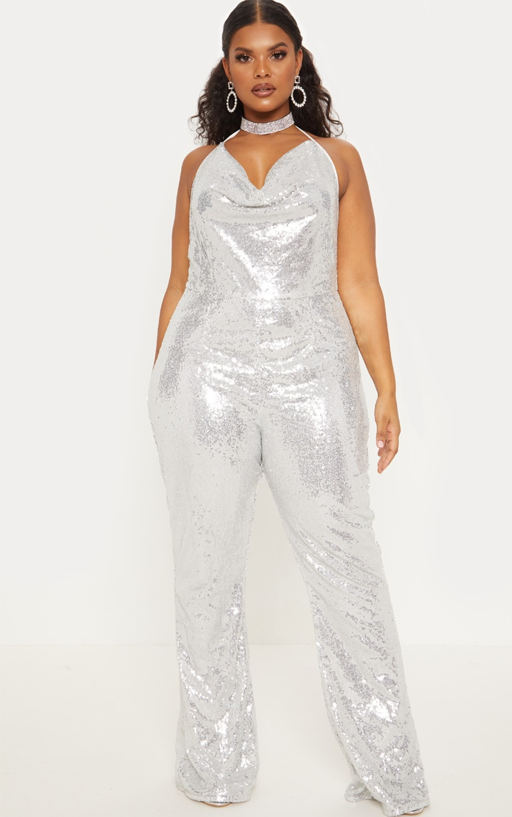 Plus Silver Sequin Cowl Neck Halterneck Jumpsuit  5