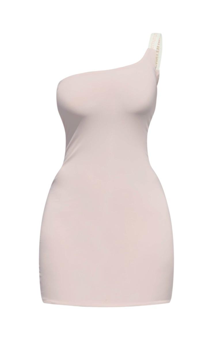 PRETTYLITTLETHING Petite Nude One Shoulder Slinky Bodycon Dress 5
