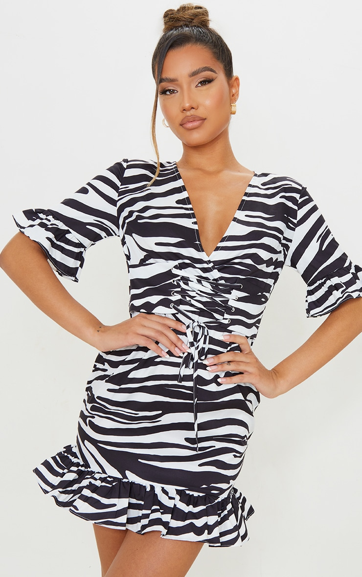 Black Zebra Print Corset Swing Dress 1