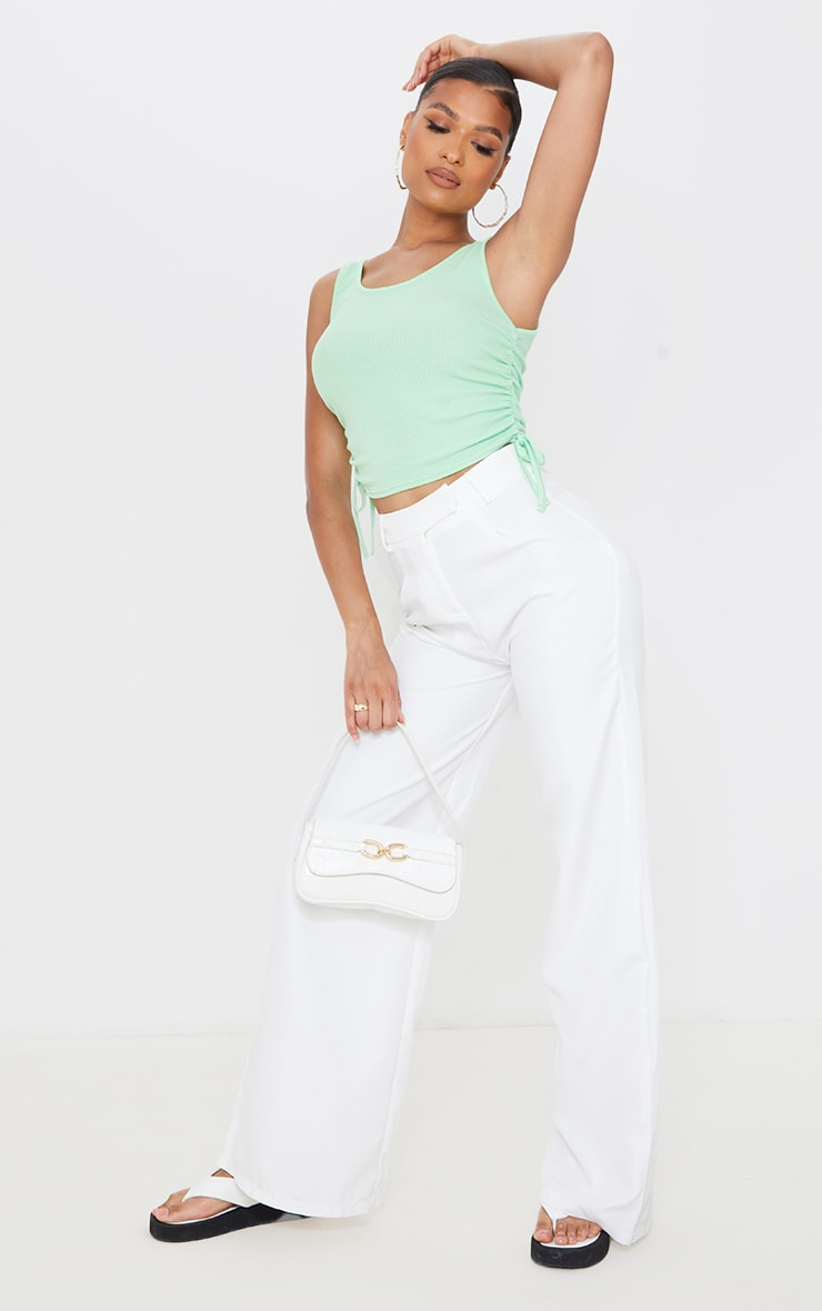 Pastel Green Soft Rib Ruched Side Vest Top 3