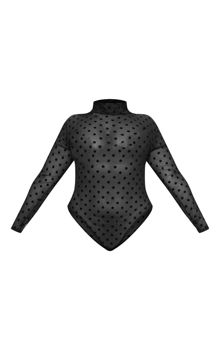Plus Black Polka Dot Mesh Bodysuit 3