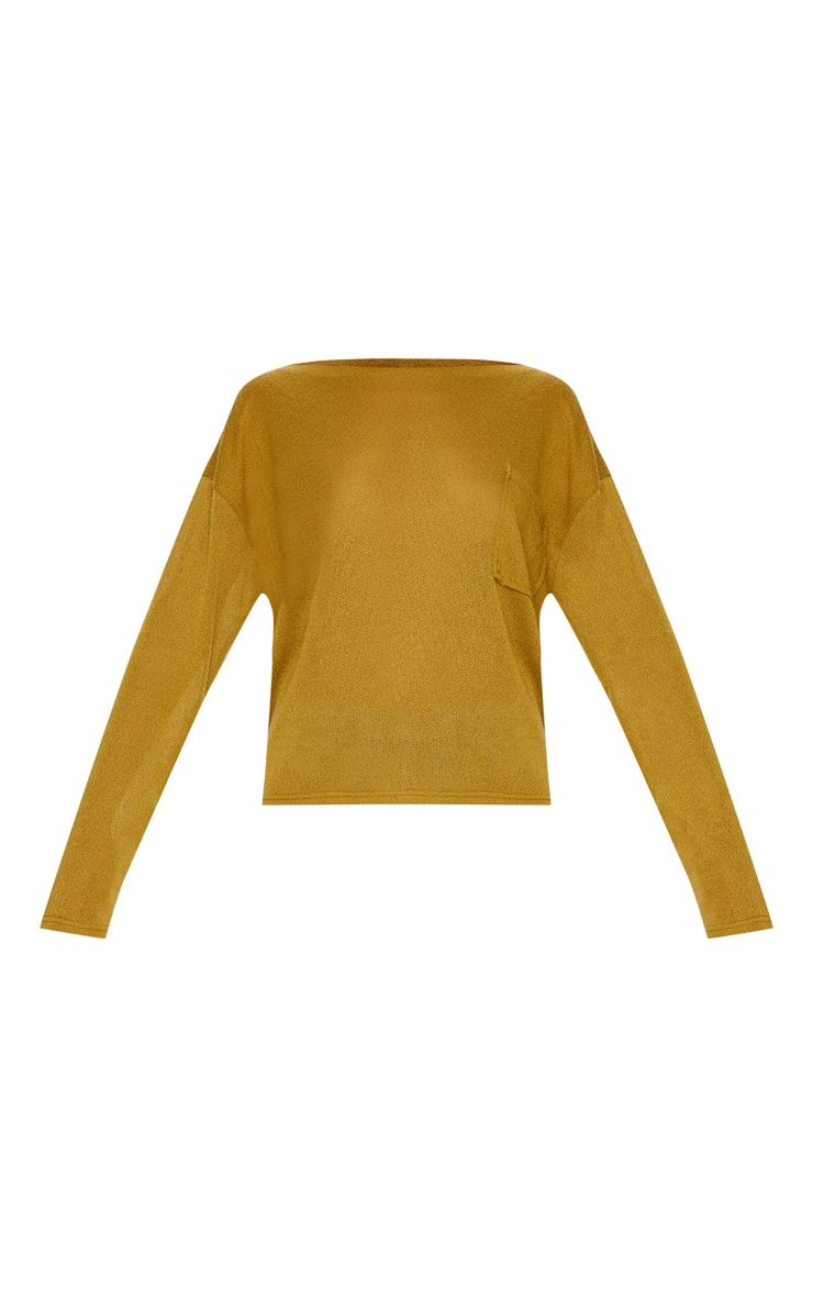 Olive Green Lightweight Knit Long Sleeve Top 3