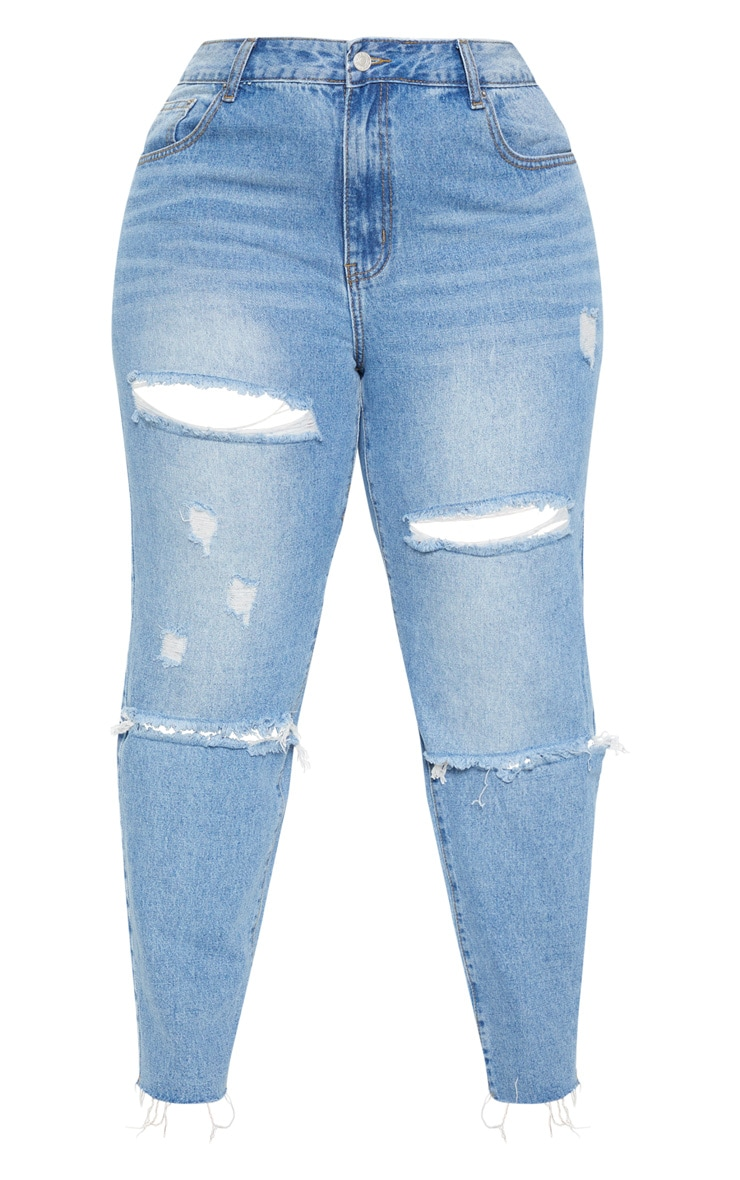 Plus Mid Wash Rip Straight Leg Jean 3