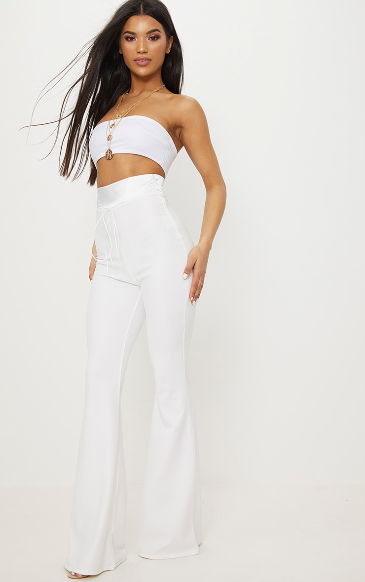 Cream Satin Waistband Detail Flare Trouser 1