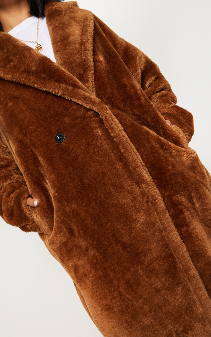Brown Faux Fur Coat  4