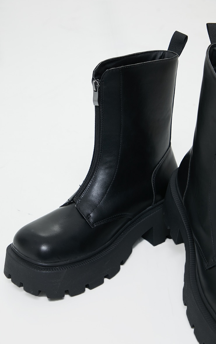 Black Chunky Zip Front Hiker Biker Boot 4