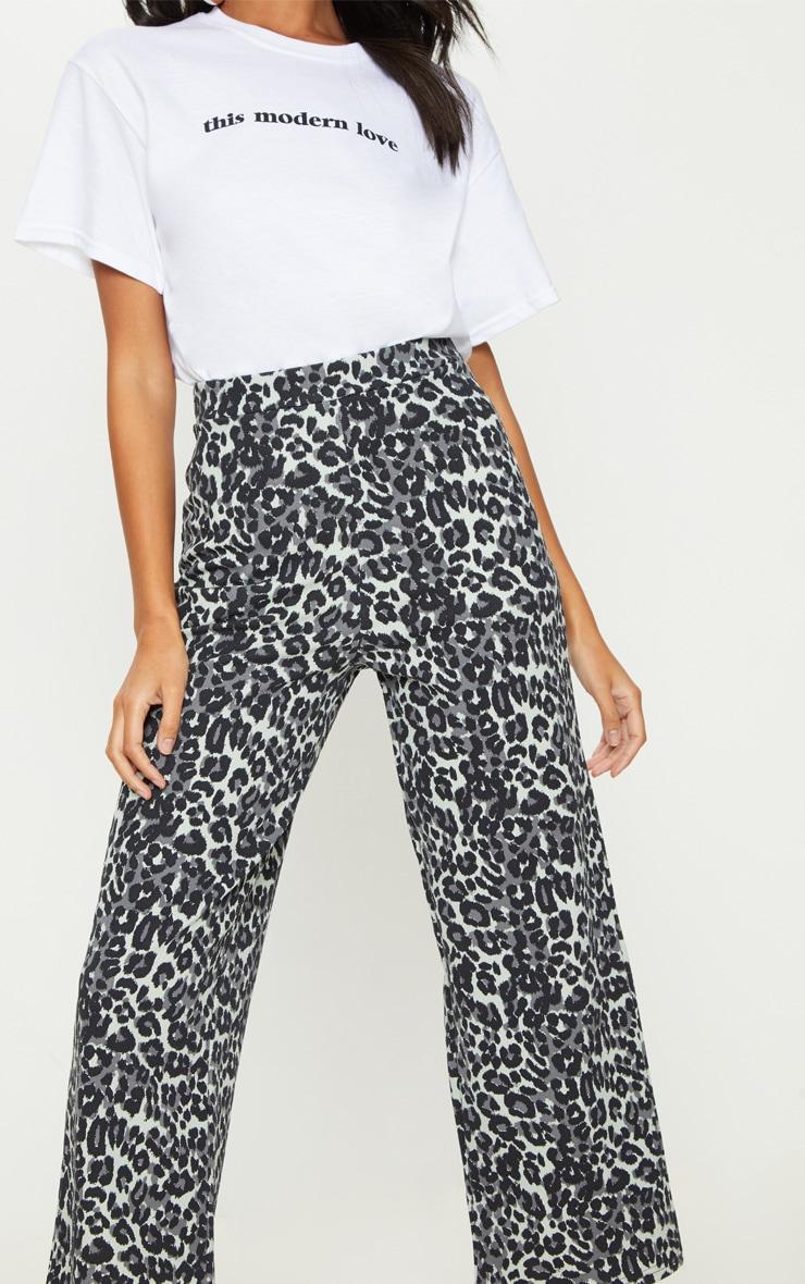 Grey Leopard Print Culotte 4