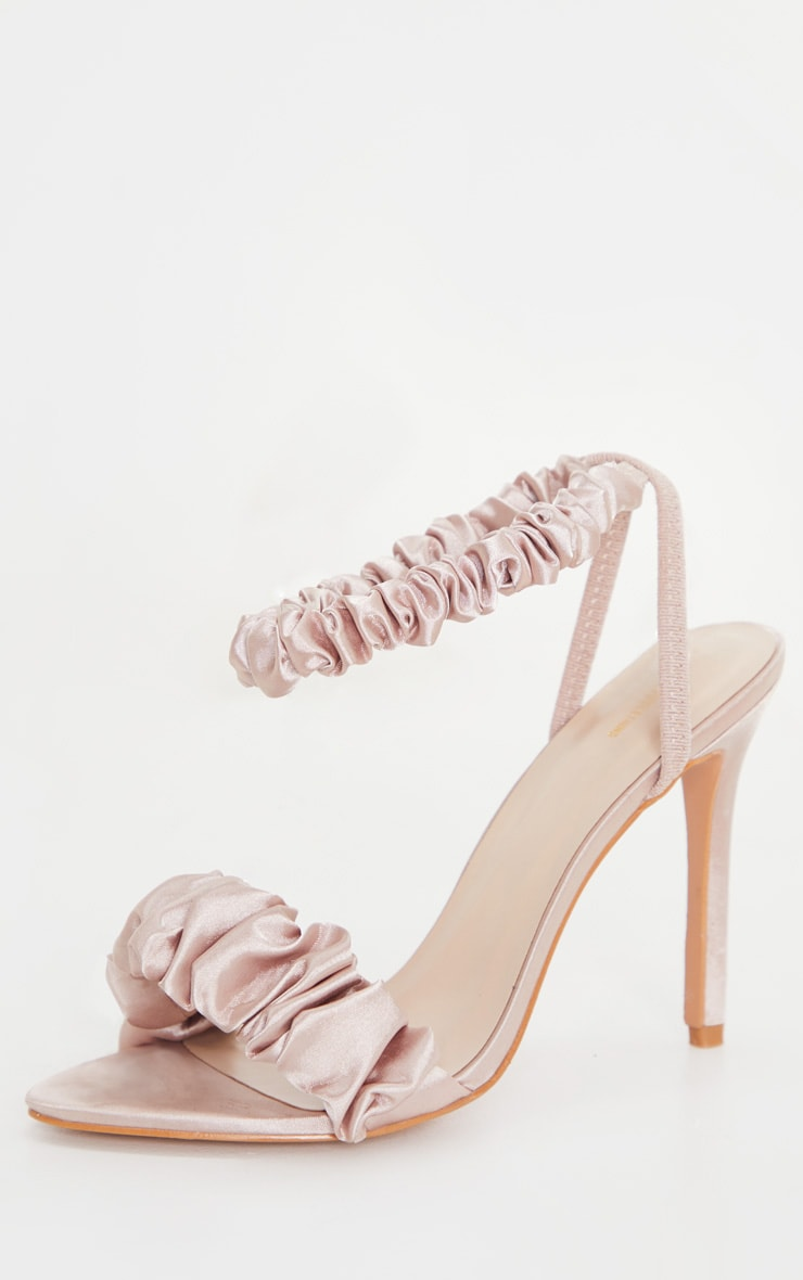 Nude Ruched Double Strap Sling Back Heeled Sandal 4