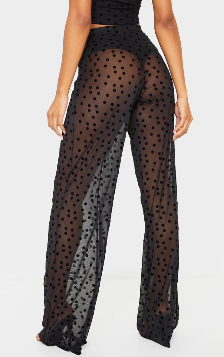 Pantalon ample taille haute noir en mesh imprimé pois 3