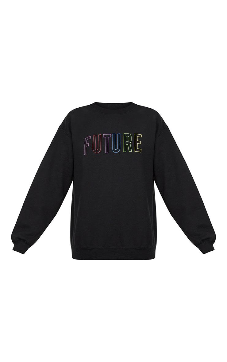 Black Future Slogan Sweater  3