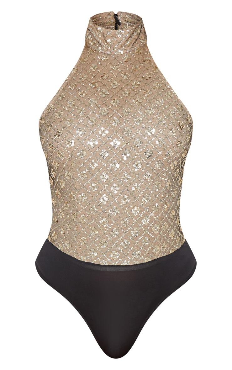 Gold Halterneck Glitter Bodysuit 3