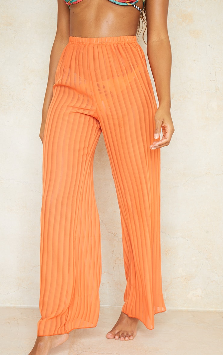 Orange Sheer Stripe Wide Leg Beach Pants 2