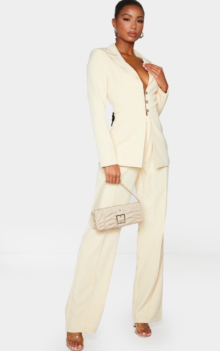 Cream Fitted Lace Up Back Blazer 3
