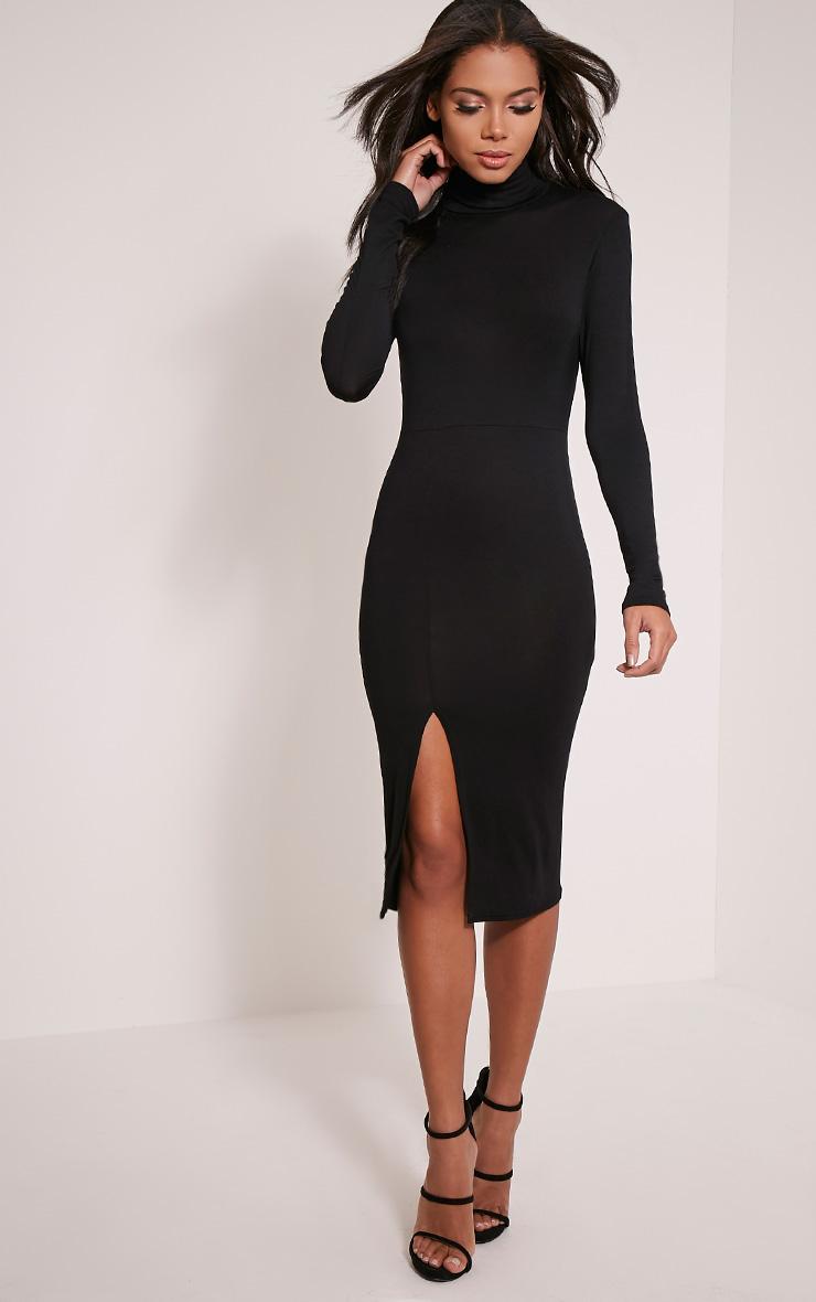 Sharia Black Jersey Roll Neck Split Midi Dress 1