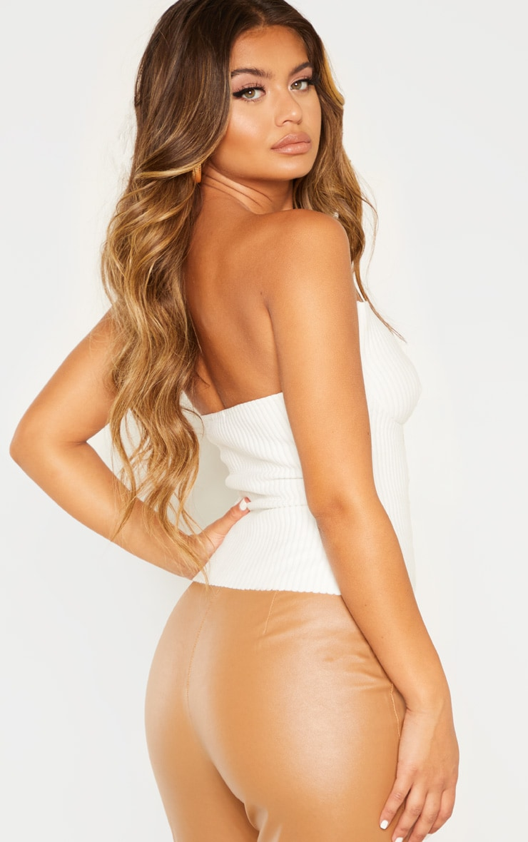White Brushed Rib Cup Detail Bandeau Top 2