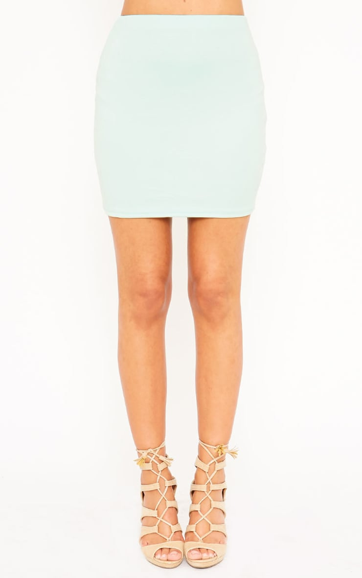 Basic Mint Scuba Mini Skirt 5