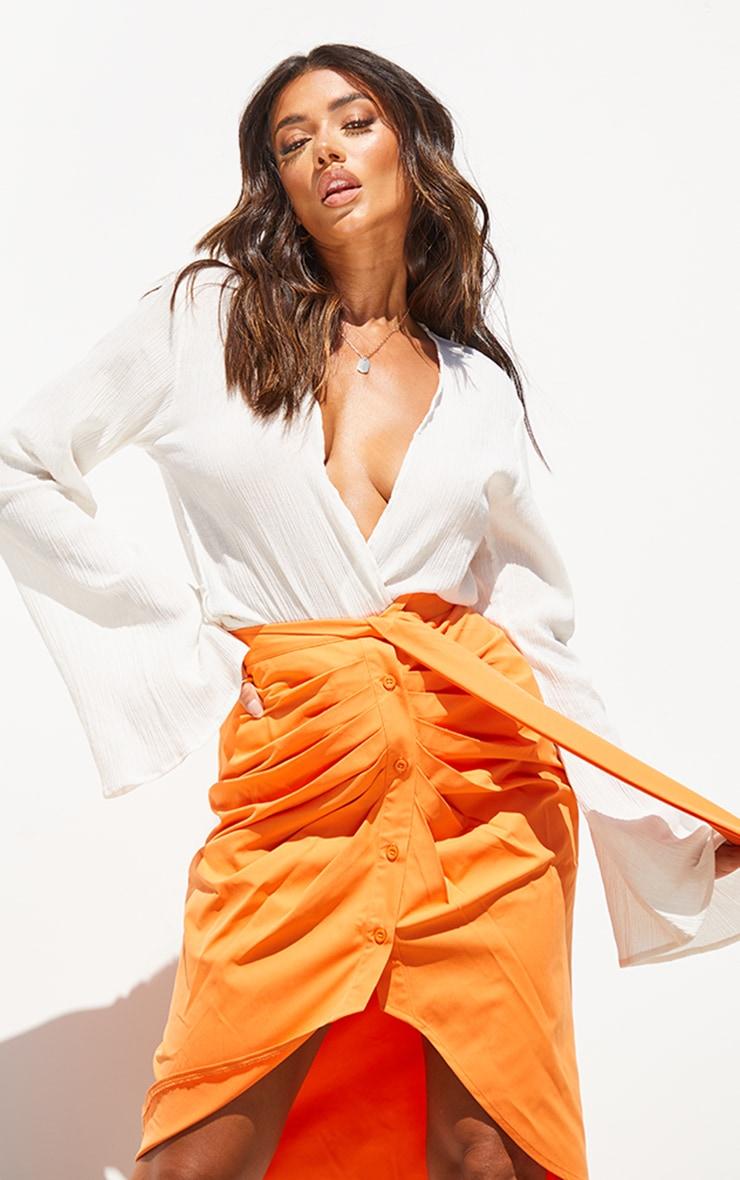 Orange Foldover Button Through Midi Skirt 4