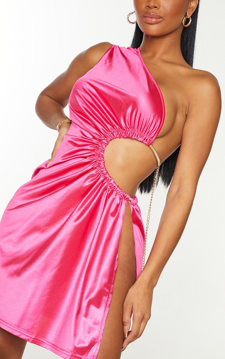 Shape Hot Pink Satin Chain Detail Cut Out Bodycon Dress 4