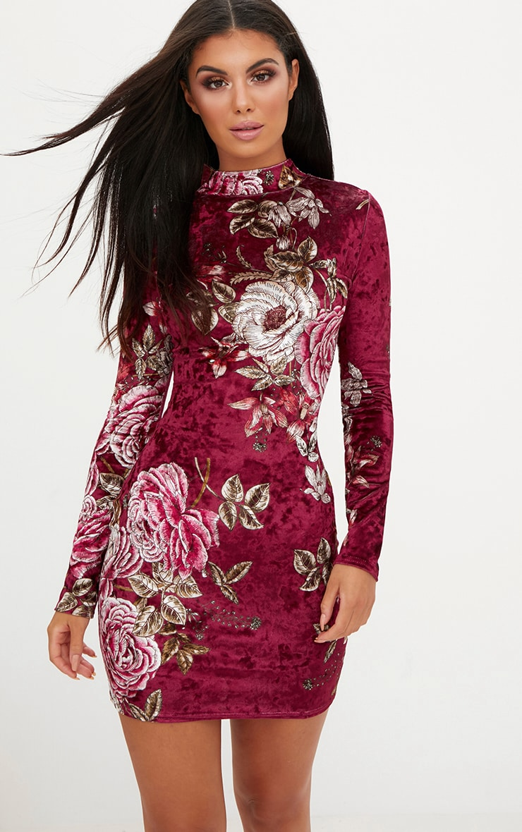 Berry Long Sleeve Floral Velvet Bodycon Dress 1