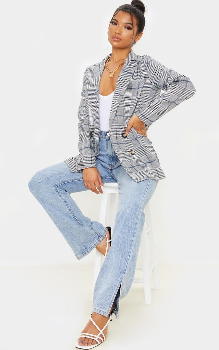 Grey Checked Button Woven Blazer 4