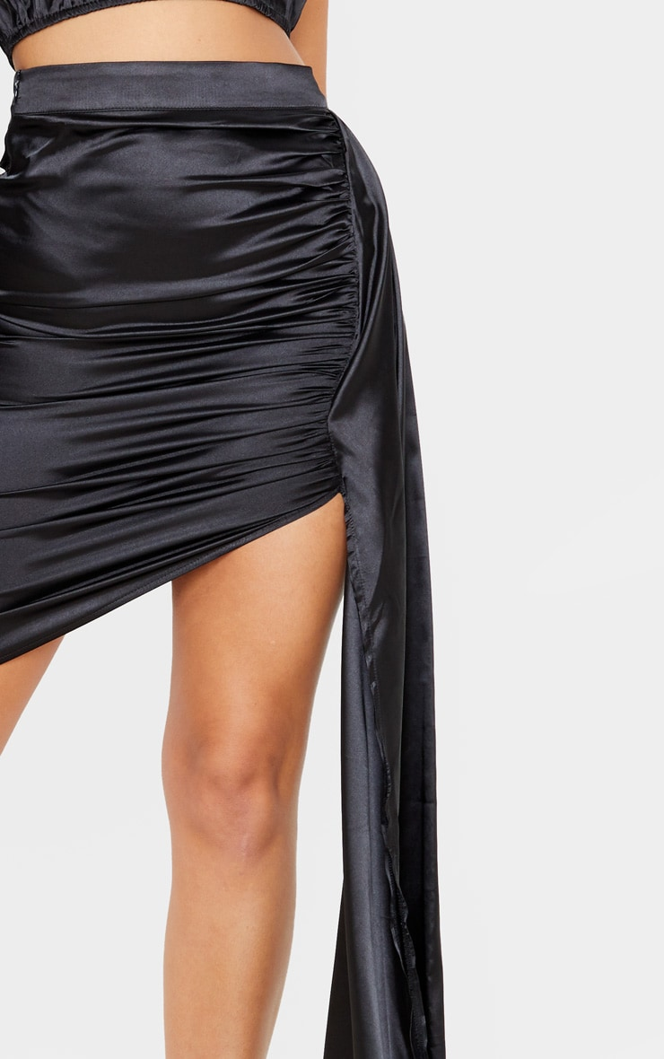 Black Ruched Satin Side Skirt 6