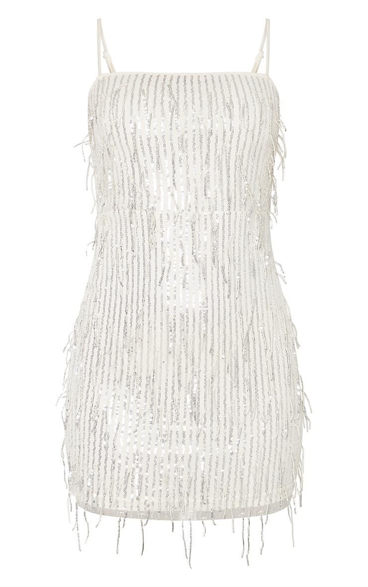 Nude Strappy Tassel Sequin Stripe Bodycon Dress 3