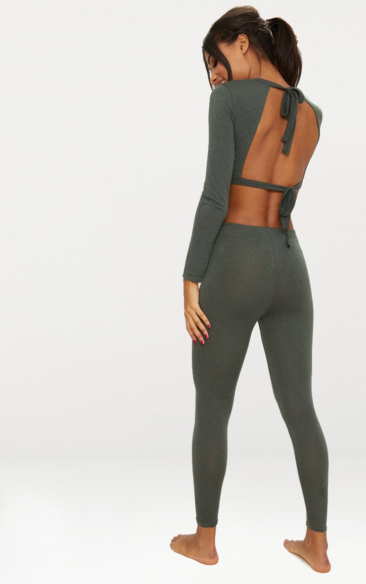 Khaki Bow Back Knitted Co Ord Set 4