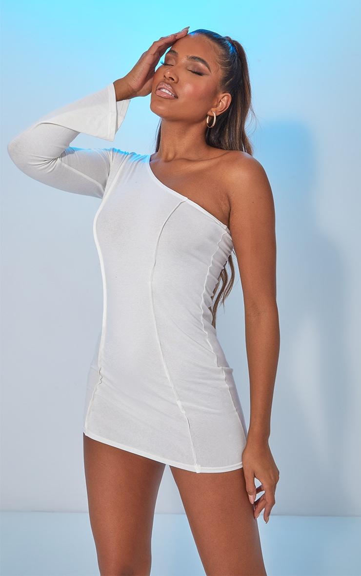 White Asymmetric Binding One Shoulder Bodycon Dress image 1