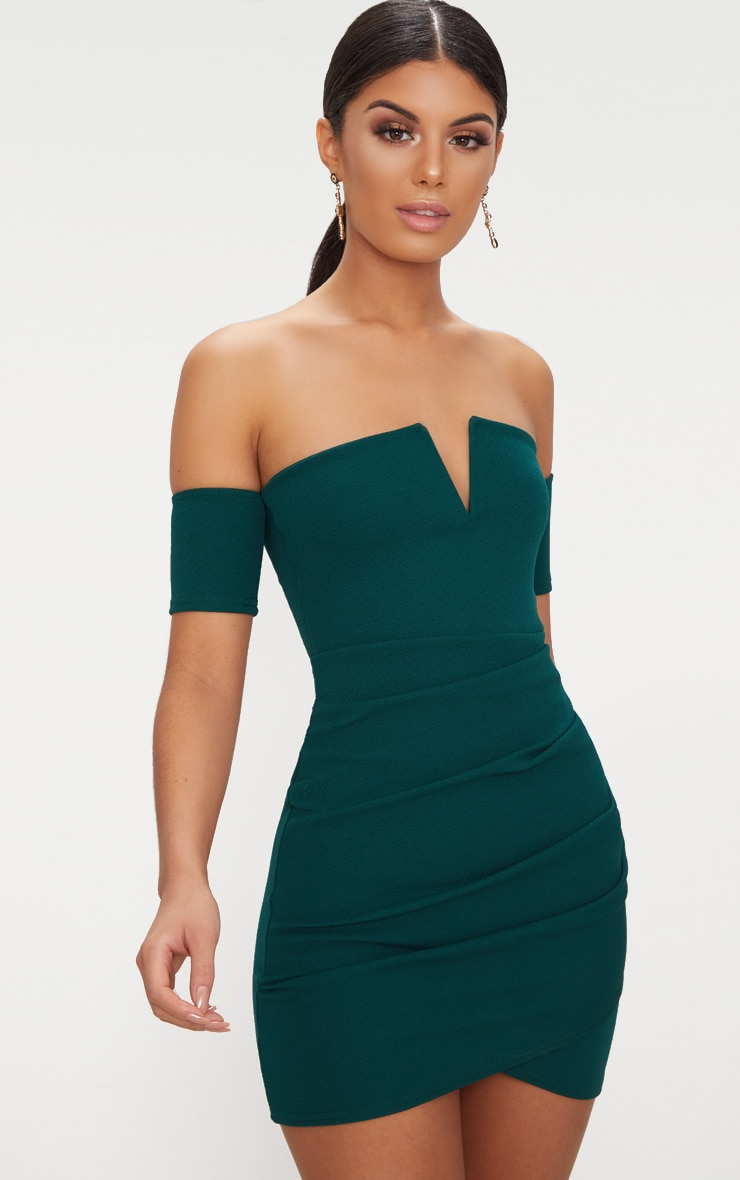 Emerald Green Bardot Wrap Front Bodycon Dress 1