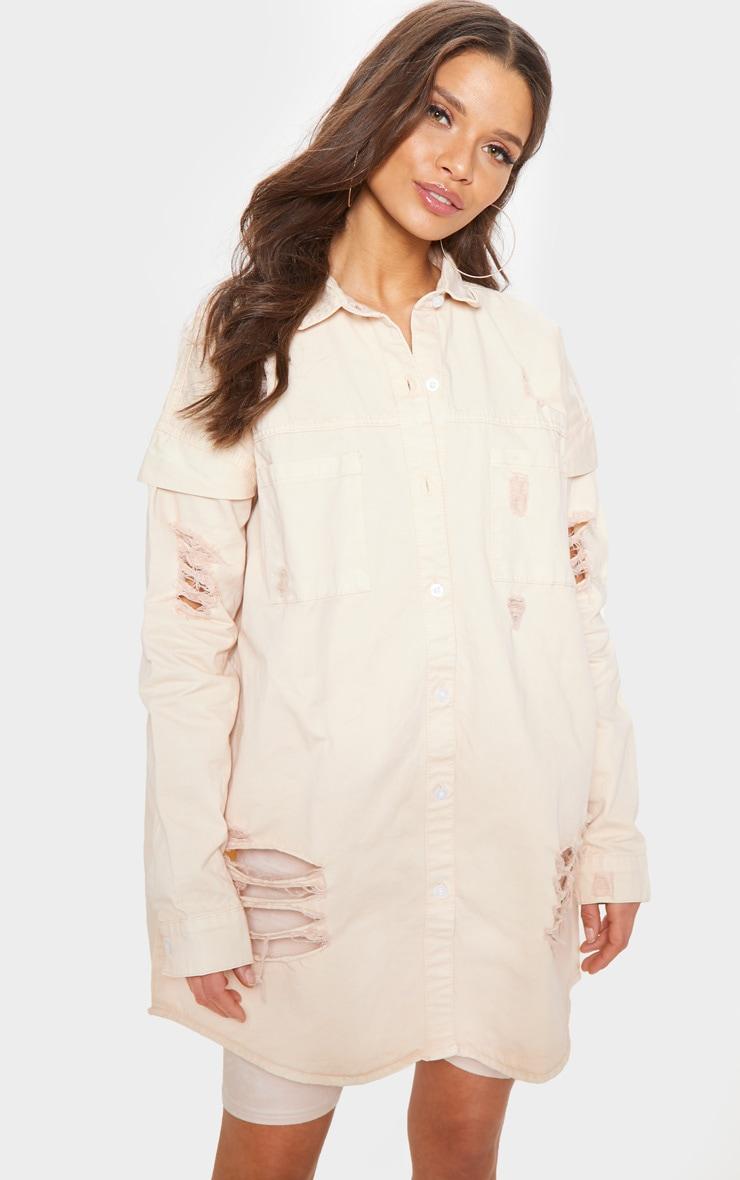 Peach Oversized Distressed Denim Shirt  4