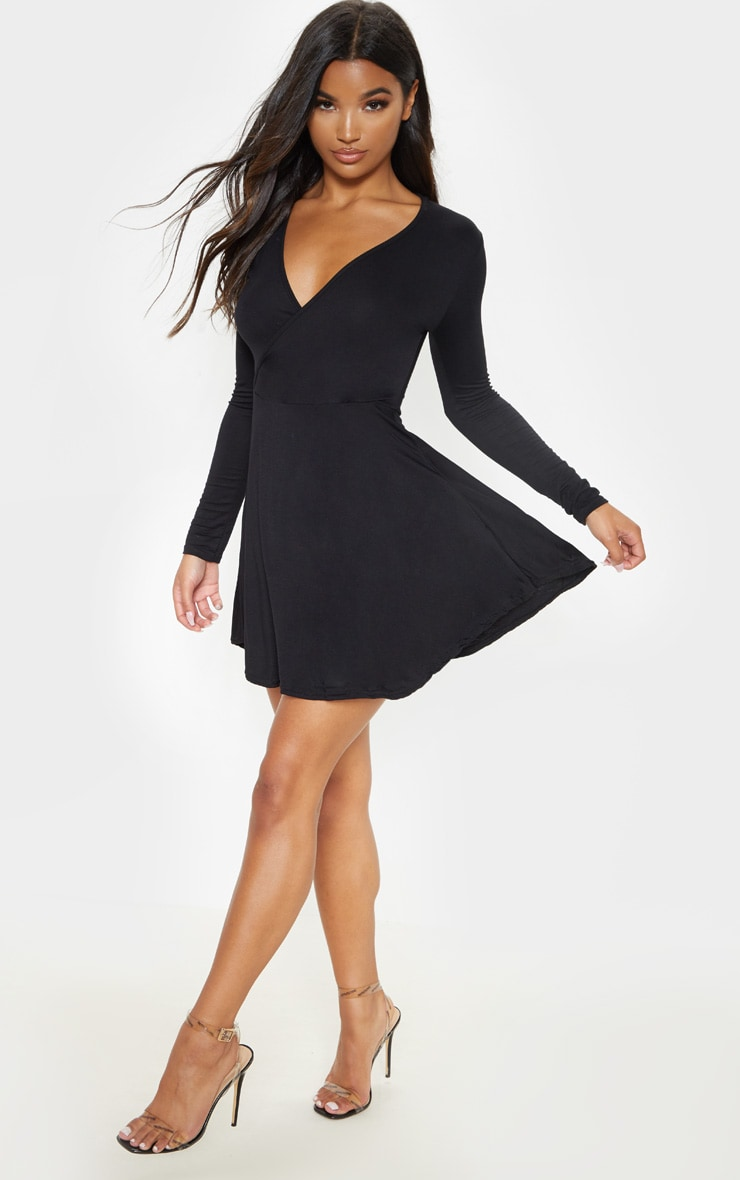 Black Jersey Wrap Long Sleeve Skater Dress 4