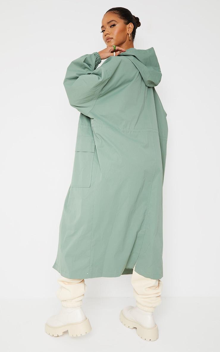PRETTYLITTLETHING Khaki Elastic Waist Drop Shoulder Trench Coat 2