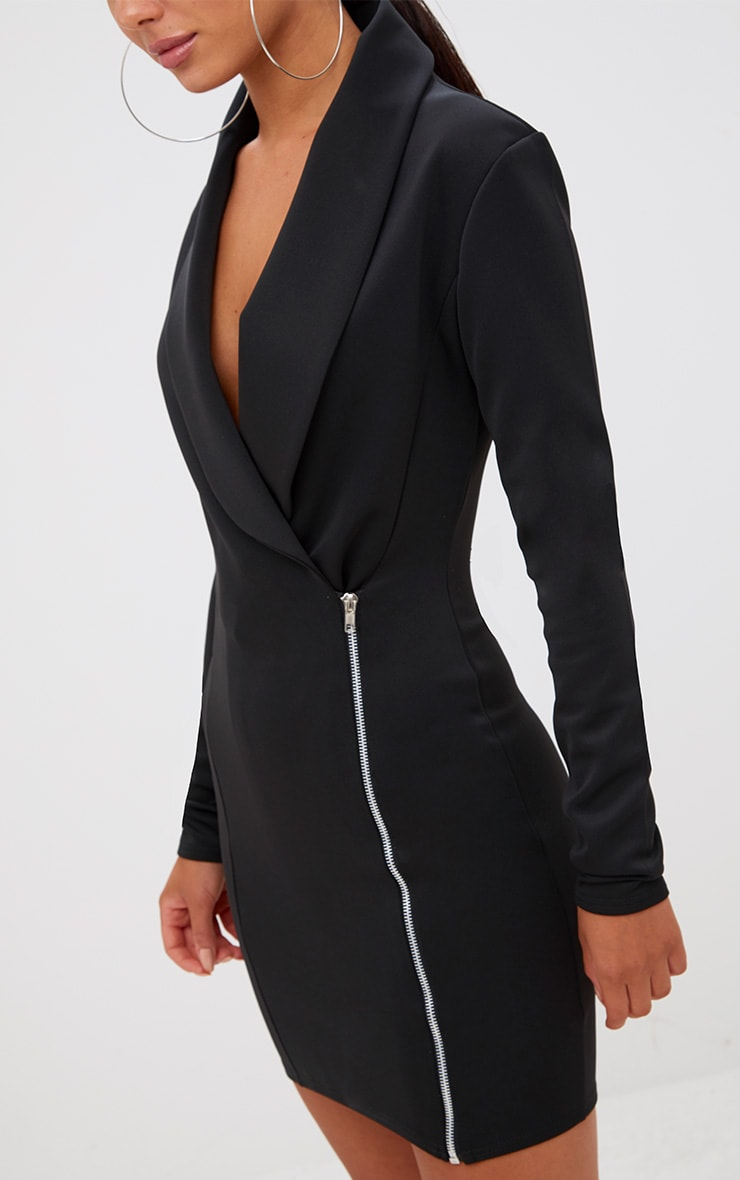 Black Zip Detail Blazer Dress 5