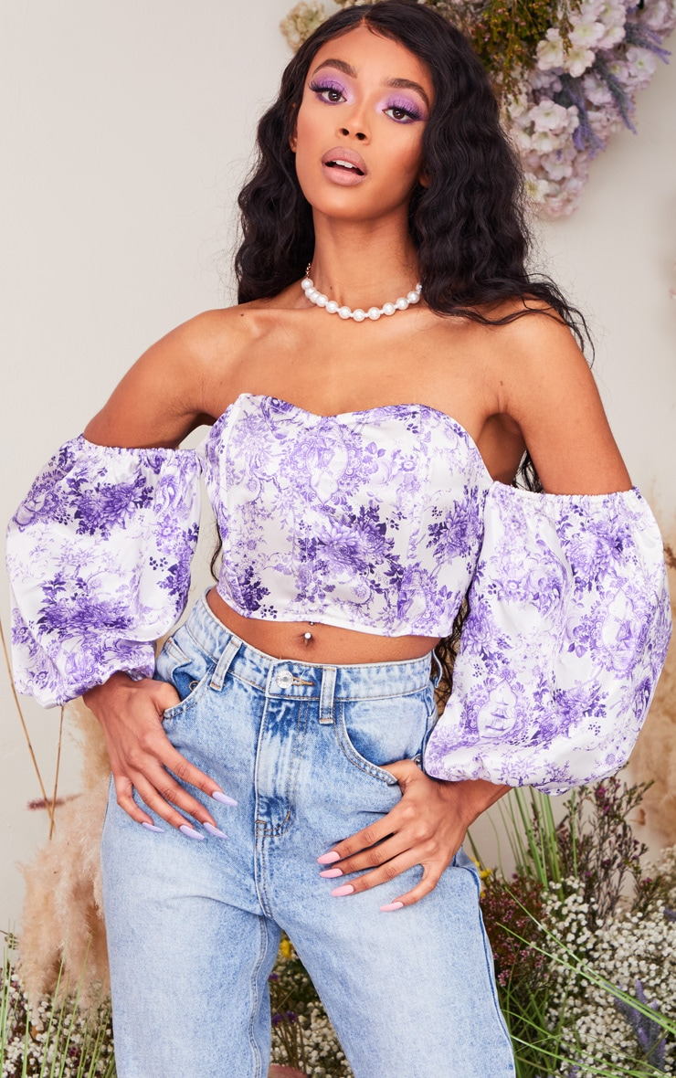 Purple Ditsy Floral Satin Puff Sleeve Bardot Crop Top 1