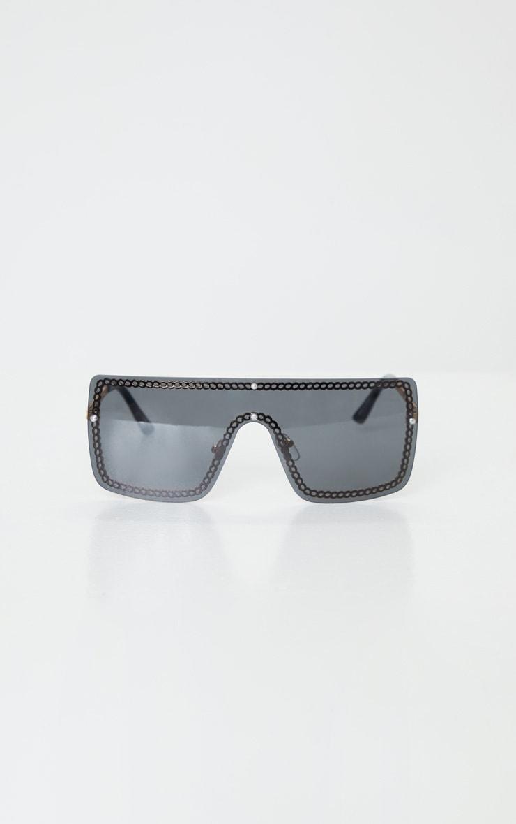 Gold Trim Black Revo Flat Sunglasses 2