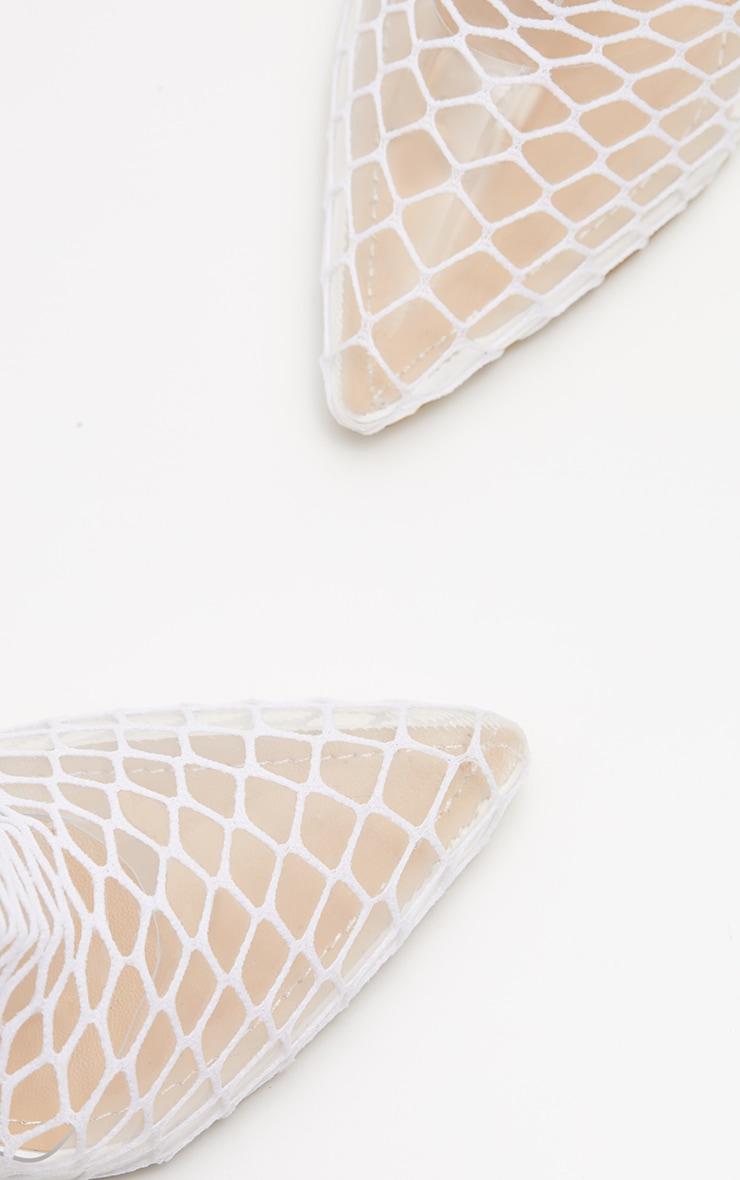 White Fishnet Slingback Pointed Toe Heels 4