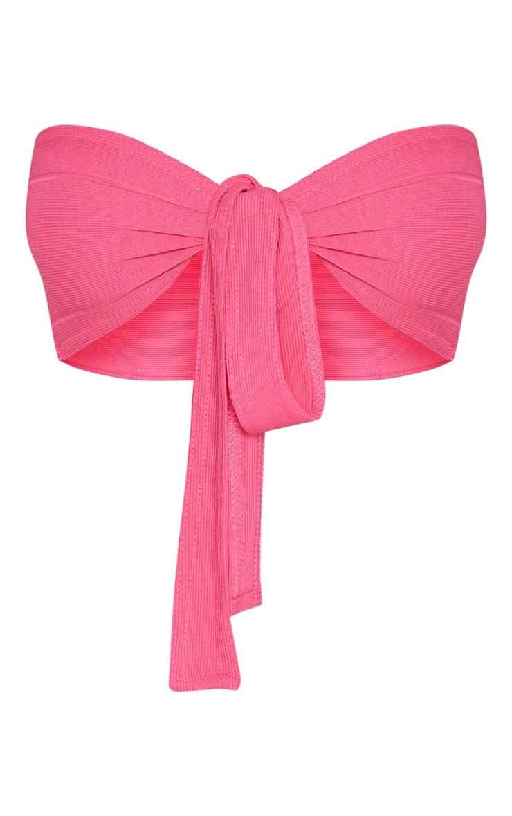 Pink Bandage Tie Front Bandeau Bralet 3