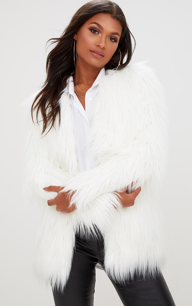 Cream Shaggy Faux Fur Jacket 1