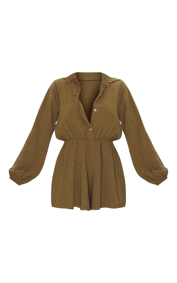 Khaki Woven Long Sleeve Button Up Romper 5
