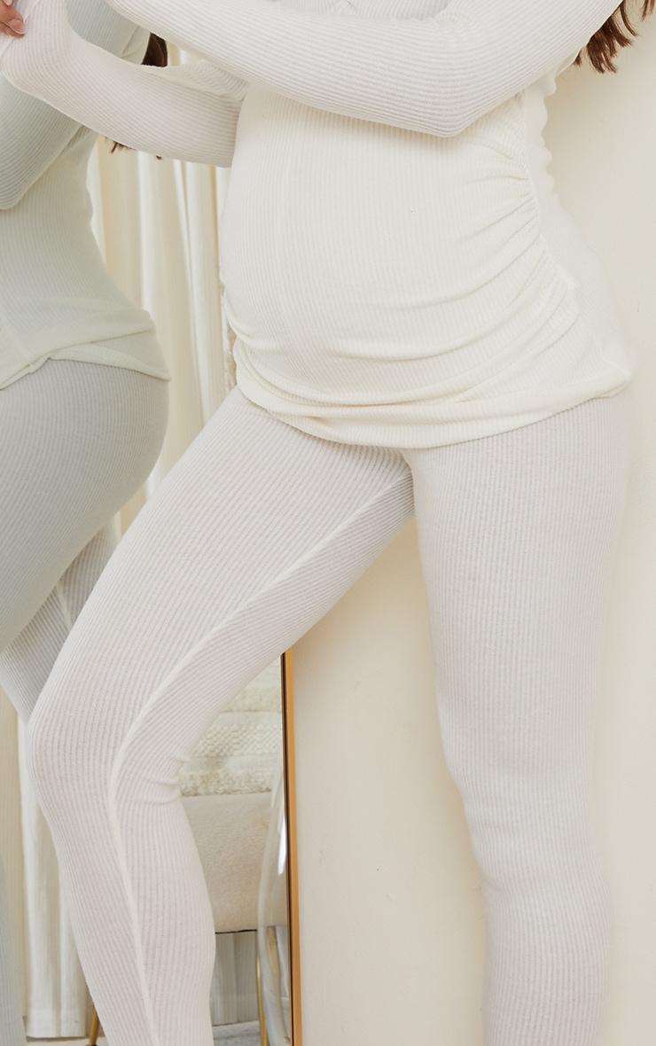 Maternity Cream Ruched Brushed Leggings 4