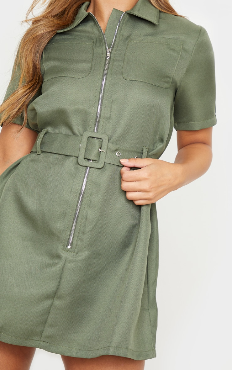 Petite Khaki Zip Detail Belted Utility Dress 5