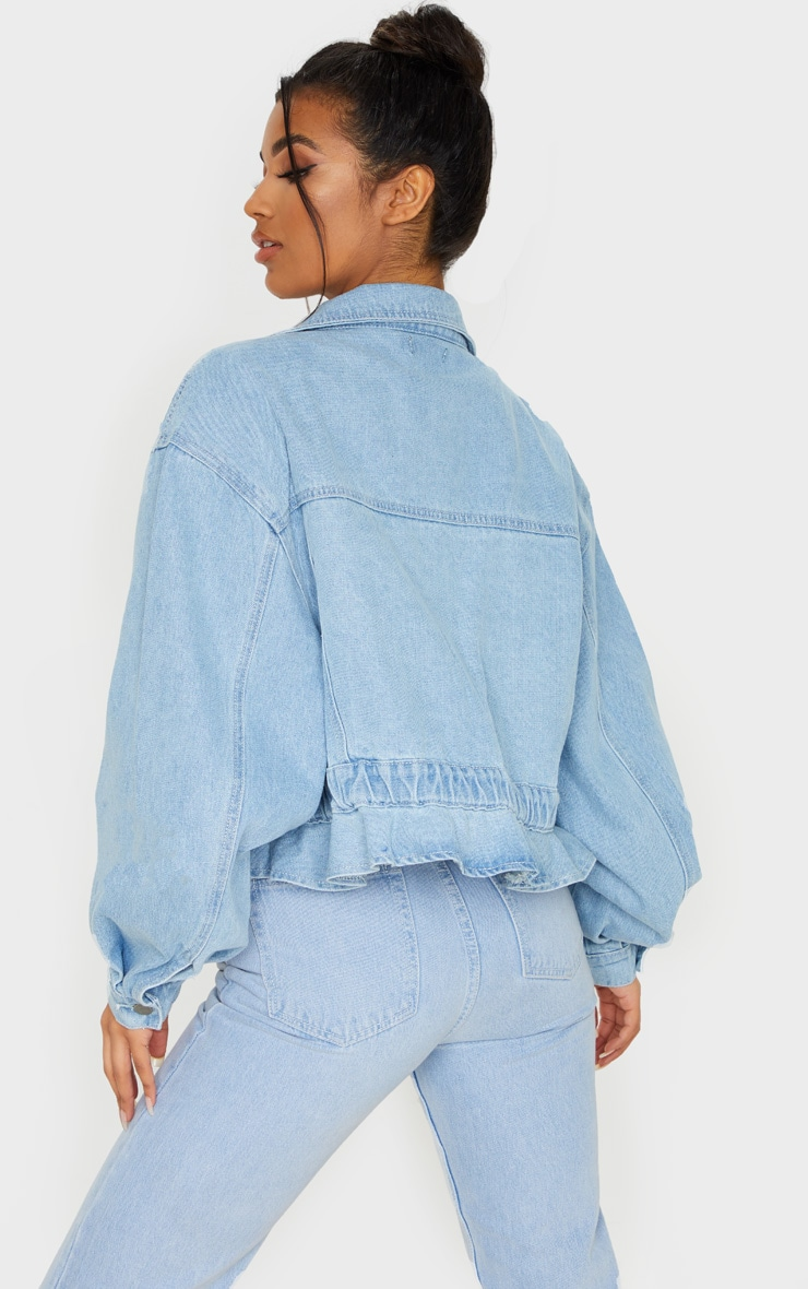 Light Blue Wash Rope Tie Hem Oversized Denim Jacket 2