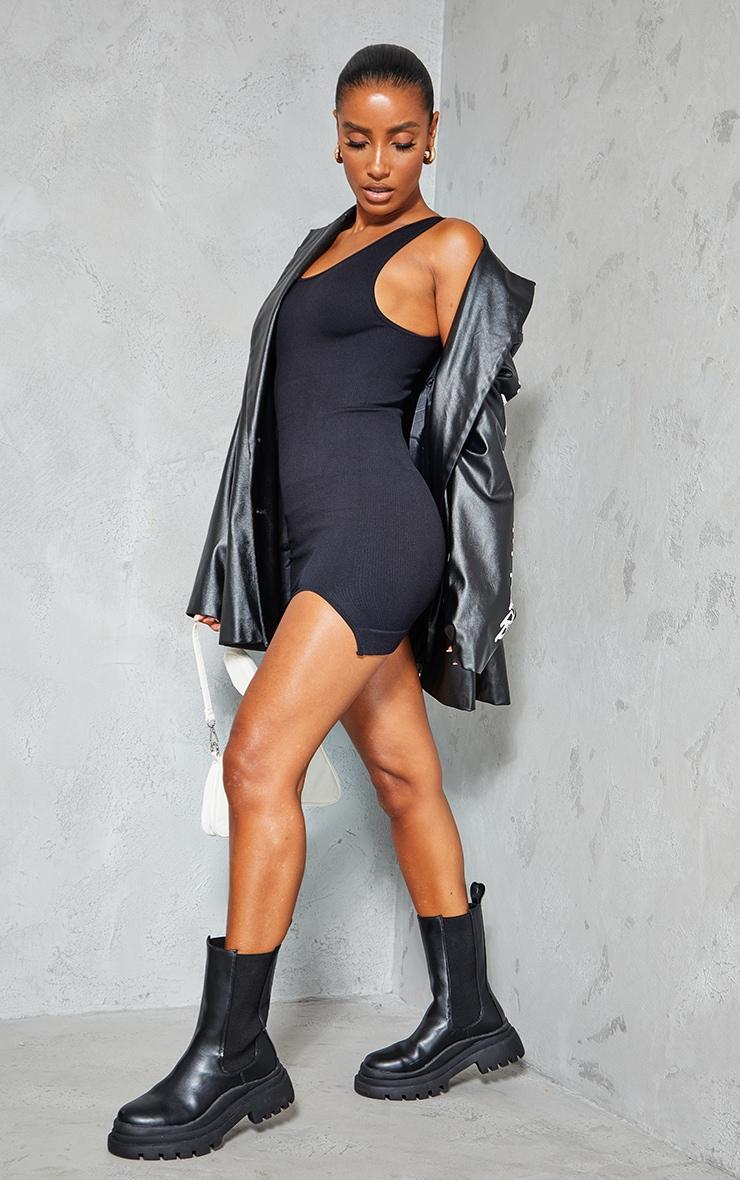 Black Structured Contour Rib Sleeveless Bodycon Dress 1