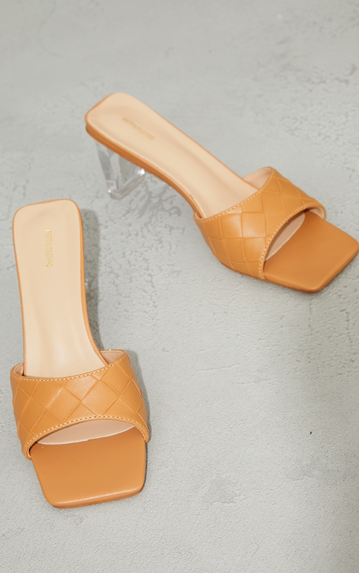 Camel PU Square Toe Plaited Clear Heeled Mules 3