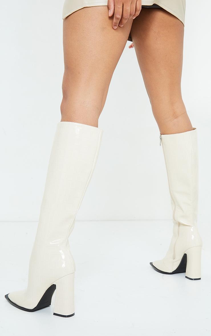 White Croc High Block Heel Toe Edge Knee Boot 2