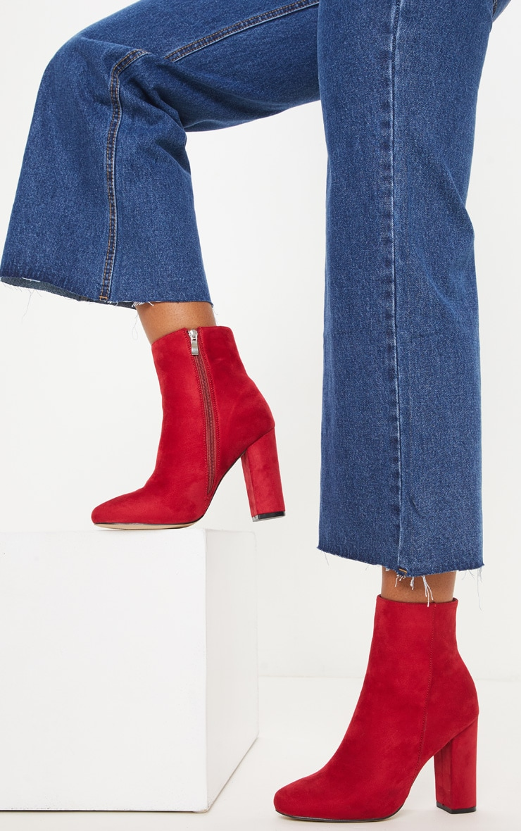 069315978 Red Faux Suede Ankle Boots | Shoes | PrettyLittleThing