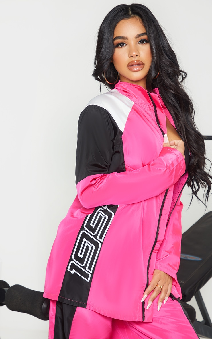 Petite Pink Nylon 1997 Oversized Sports Jacket 4