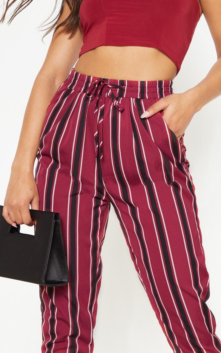 Burgundy Multi Stripe Casual Trousers 5