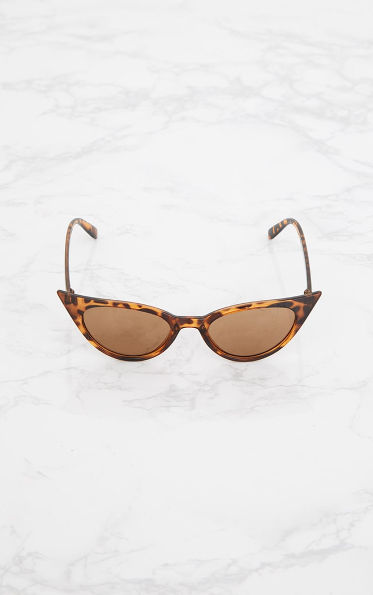 Brown Tortoiseshell Extreme Cat Eye Retro Sunglasses 5