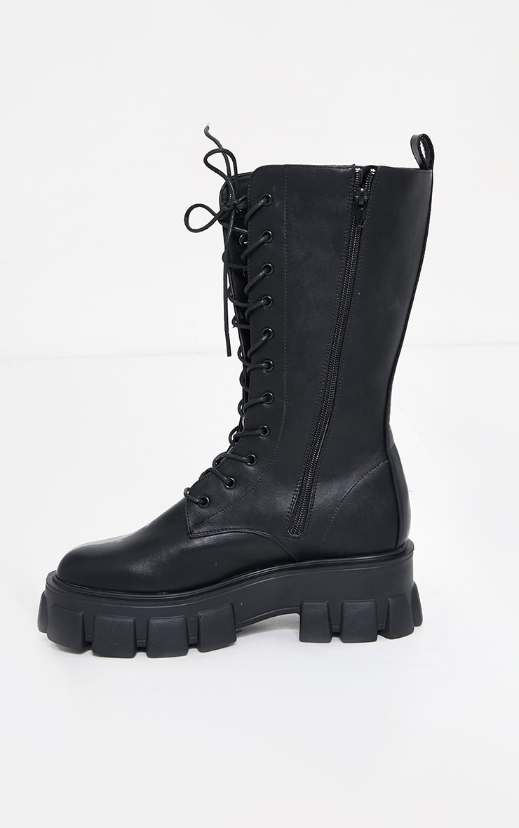 Black Extreme Chunky Sole Calf High Biker Boots image 4